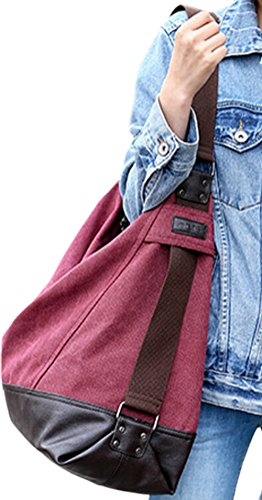 Women Messenger Shoulder Cross Body Bags Fashion Bags Hobos Handbags DATO Girls Red Tote wine Canvas Handle for Casual Top Multifunction Bags Large 6Pw6xqgXa