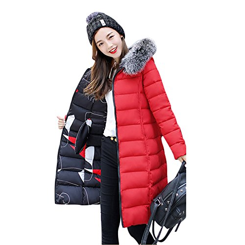 Gamery Women Reversible Winter Long Parkas Down Jackets Outerwear Plus Size With Faux Fur Hood Red 3XL
