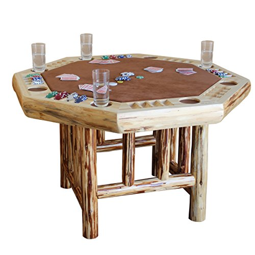 (Rush Creek Creations 8 Player Octagon Poker Table - Handcrafted Rustic Log Wood - Plush Padded Velvet)