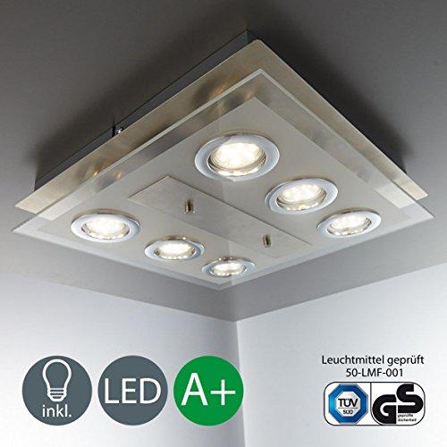 PASS LED Deckenleuchte 6 X GU10 3W Lampe Deckenlampe Strahler Spots Wohnzimmerlampe Eckig Matt Nickel Amazon Review Analysis ReviewMeta