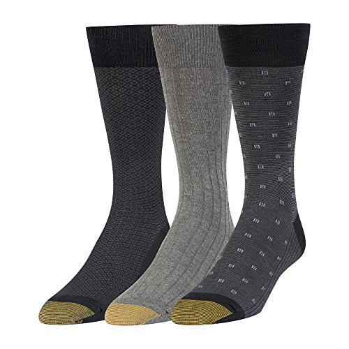 Gold Toe Men's Dress Crew Socks, 3 Pairs, Black/Charcoal, Shoe Size: - Mens Dress Charcoal
