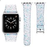 iitee Christmas Shiny Glitter Power PU Leather Bling Luxury iWatch Band Wristwatch Bracelet Strap Belt for Apple Watch (Iridescent White, 38 mm)