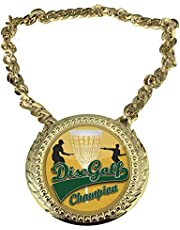 Express Medals Disc Golf Champ Chain Trophy Award with a Center Plaque Plate Measuring 6 by 5.25 Inches and Includes a 34 Inch Chain with Black Velvet Presentation Bag.