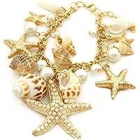 ERAWAN New Chunky Gold Tone Sea Shell Starfish Faux Pearl Bib Statement Multi Bracelet EW sakcharn