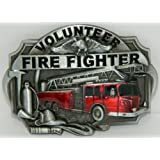 VOLUNTEER FIRE FIGHTER FIREMAN Red Enamel Design Belt Buckle. This item ships from Cornwall, Ontario, Canada