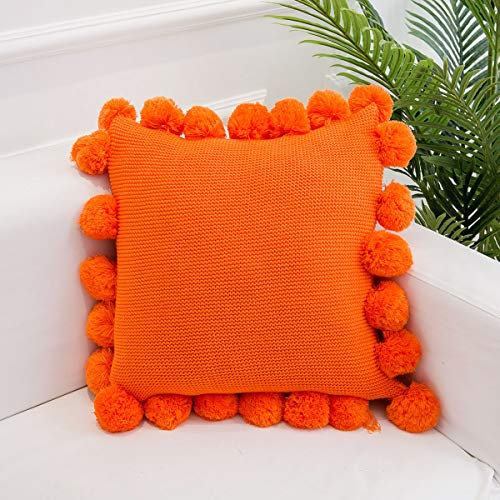 "famibay Knitted Throw Cover Luxurious Lovely Knitted Throw Pillow Cases with Handmade Pom Poms for Sofa Bed Couch Living Room Office 18"" x 18"" Orange"