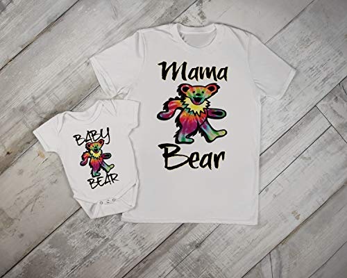 (Grateful Dead Mama and Baby Matching Set Onesie Tshirt Mommy Son Daughter Hippie Mothers Day Gift)