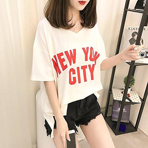White Camicia T 2 Donna Abbigliamento Camicetta Fashion Shirt Manica Stampato Base Shirts Tops Casual Estivi Corta Ragazza Digitale Donna Elegante Sciolto Huixin Awdq14RR