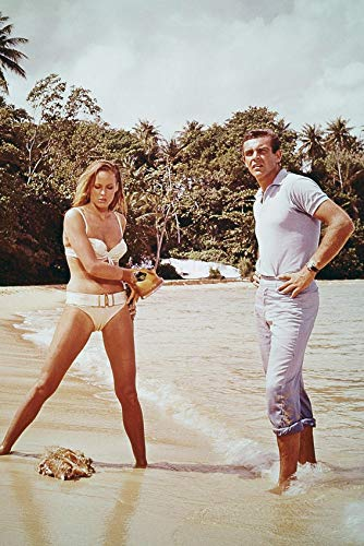 Dr. No Sean Connery as James Bond and Ursula Andress as Honeychile 'Honey' Ryder Classic Scene 24x18 Poster