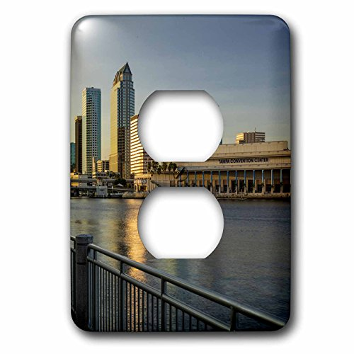 3dRose Danita Delimont - Cities - Setting sun over the skyline of Tampa, Florida, USA - Light Switch Covers - 2 plug outlet cover - Tampa Outlets Florida
