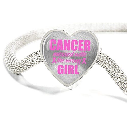 Rayo Jewelry Breast Cancer Awareness Stainless Steel Heart Charm Bracelet for women. Pink Ribbon Personalized Jewelry Breast Cancer Survivor gifts (18)