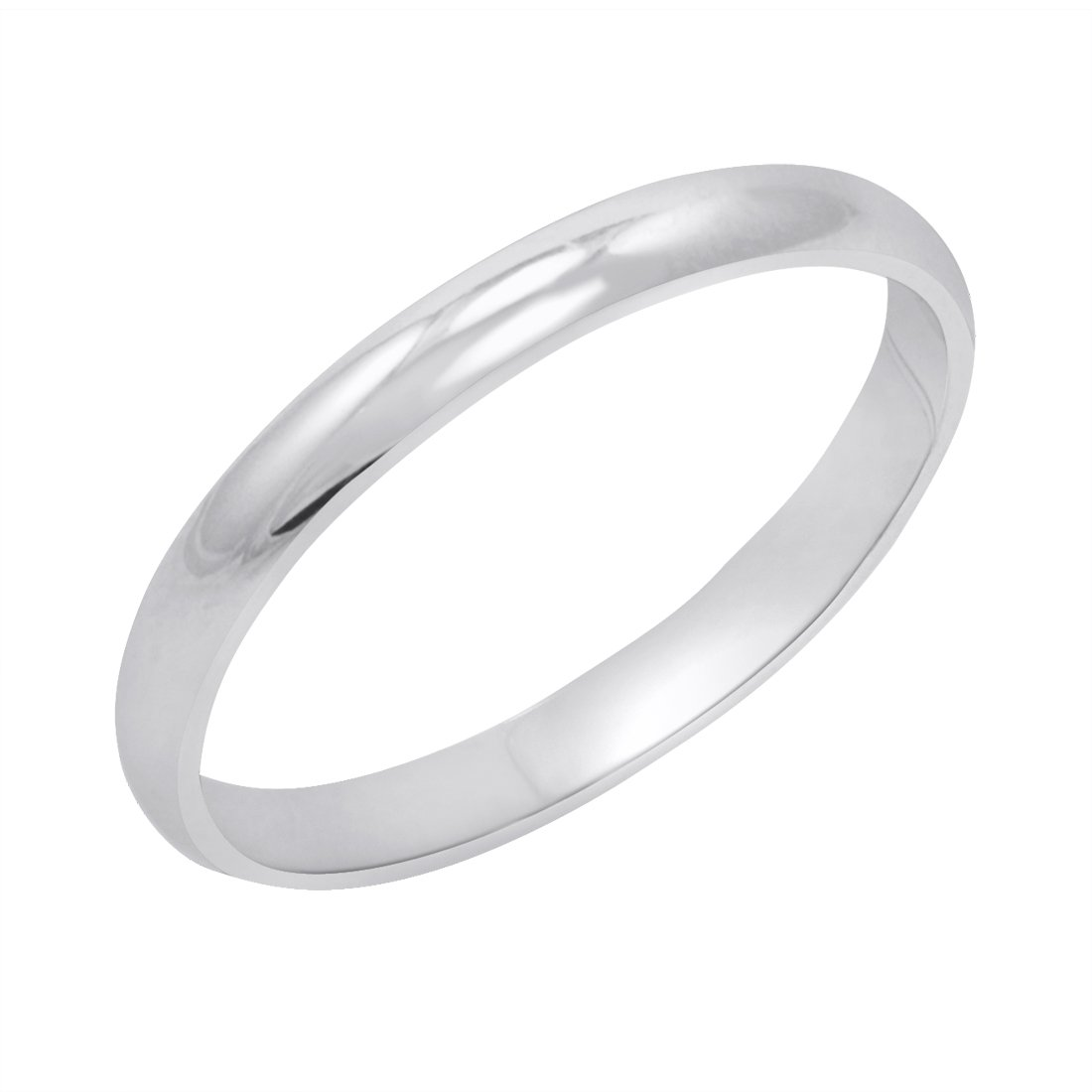 Women's 14K White Gold 2mm Classic Fit Plain Wedding Band (Available Ring Sizes 4-8 1/2) Size 6.5