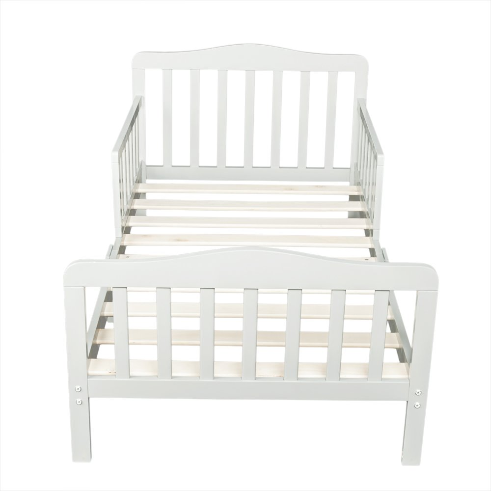 Wooden Baby Toddler Bed Children Bedroom Furniture with Safety Guardrails (Gray)