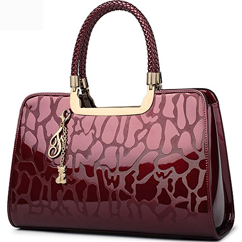 Stylish Designer Handbags - FOXER Women Handbag Leather Purse Top Handle Patent Leather Tote Shoulder Bag