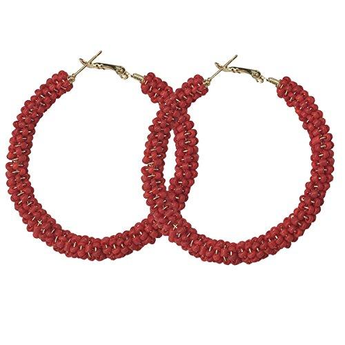 JHWZAIY Hoop Earrings Gold Plated Beaded Earrings Bohemian Dangle Earrings for Women Girls - Earrings Loop Red