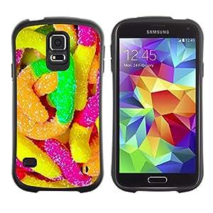 All-Round híbrido de goma duro caso cubierta protectora Accesorio Generación-I BY RAYDREAMMM - Samsung Galaxy S5 SM-G900 - Rubber Candy Colorful Sugar Sweets Neon