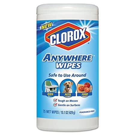 Clorox Anywhere Wet Wipes, Kid, Pet, Food Safe, Bleach-Free and  Fragrance-Free, 75 Sheets 15 1 oz