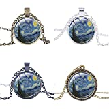 "FM42 Starry Night Vincent Van Gogh Round Pendant Necklace with 26"" Rolo Chain (4 Styles)"