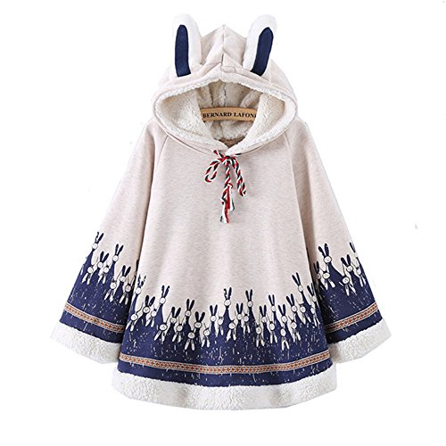 Women Rabbit Print Cape Hood with Bunny ears Harajuku Cloak Fleece Fresh Hoodies Young Girls Students (White Rabbit Hood)