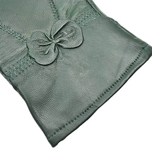 Yosang Women Luxury Winter Genuine Leather Lined Gloves w/ Bowknot Dark Green Large by Yosang (Image #3)
