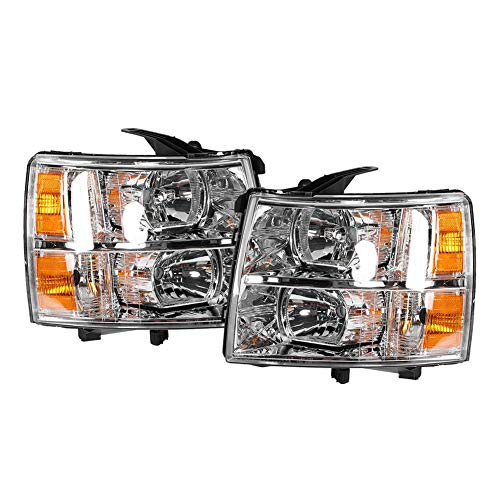 Qiilu 2Pcs Headlight Headlamp Assembly Compatible with 2007-2013 Chevrolet Silverado 1500/2500/3500 Driving Light Chromed Housing Replacement Headlights/Lamps - Left & Right