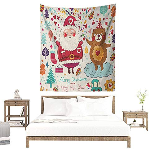 Wall Art Tapestry Christmas Santa and Teddy Bear Vintage Christmas Season Ornaments Party Kids Nursery Theme 54W x 72L INCH Suitable for Bedroom Living Room Dormitory