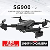 Hisoul SG900-S Foldable Quadcopter Drone 2.4GHz 1080P HD Camera WiFi FPV GPS Fixed Point Drone - One Button Fixed Height/GPS Fixed/Fixed Height/Smart Follow, Round Point Flight, Black, White (D)