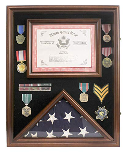 Military Shadow Box 3'X5' Flag Display Case, with Certificate Frame (Walnut)