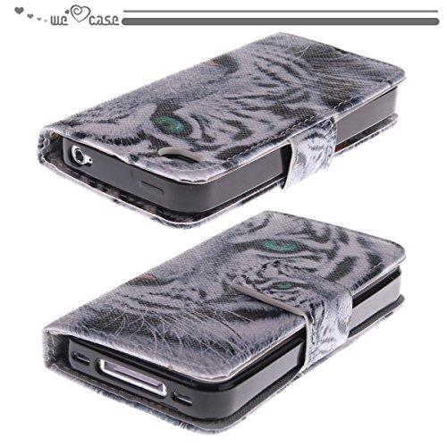 We Love Case Housse Etui pour Apple iPhone 4/4S Silicone Souple à Rabat PU Silimi Cuir Magnétique Case Cas de Couverture Coque Portefeuille de Protection Anti Rayure Anti Choc Rotative Résistante Orig