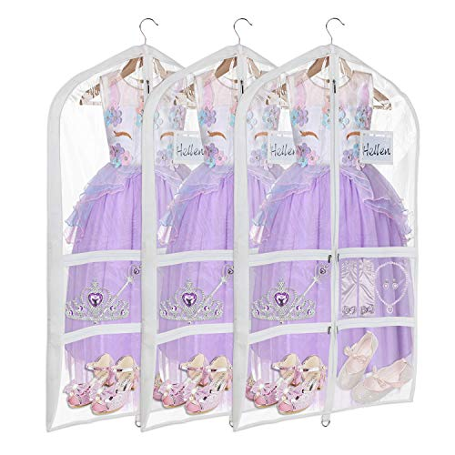 Univivi Clear PVC Dance Costume Bags (3 Pack) Garment Bag 40 Inch for Dance Competitions, with 4 Medium Clear Zipper Pockets and 1 Large Back Zippered Pocket [Upgraded Version] ...
