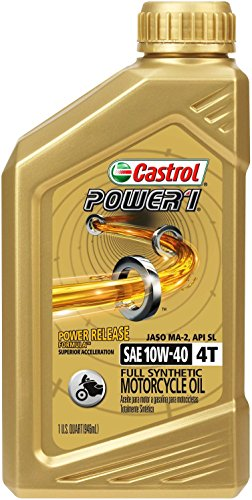 Castrol 06112 POWER 1 4T 10W-40 Synthetic Motorcycle Oil, 1 Quart Bottle, 6 Pack (Best Rated Motor Oil)