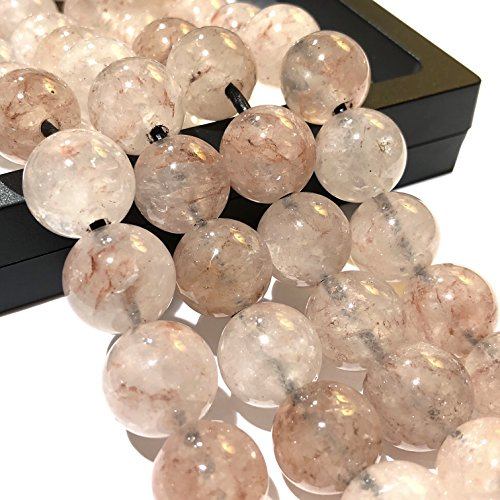 [ABCgems] 2.5mm Large Hole Madagascan Strawberry Hematoid Quartz 14mm Smooth Round Beads. Approx 8 Inches