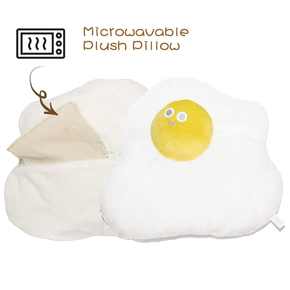 FRANKIEZHOU Heatable Winter Throw Pillow Poached Egg Plush Stuffed Pillow 15'' Microwavable Soft Food Stuffed Pillow Toy with Removable Insert for Home Decor, Original Design