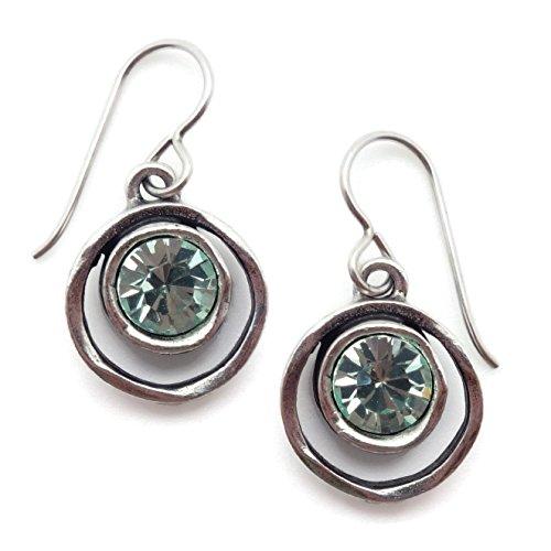 Patricia Locke Waterlily Skeeball Light Green Swarovski Crystal Silvertone Hook Earrings ()