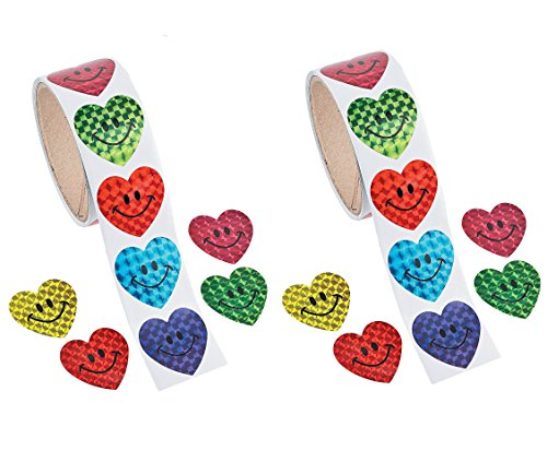 Prism Smile Face Heart Sticker Rolls (200 Stickers) 1 1/2