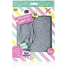 NPW-USA Beauty Junky In-Flight Mask Pillow and Ear Plugs Comfort Kit, Gray/Turquoise