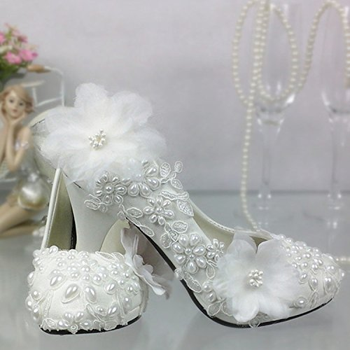 White 5 5 Waterproof Pearl Bride Platform Dress Prom Woman Shoes Work Shoes Wedding High Sandals and Night Shoes VIVIOO Shop Lace Flowers Pearls Heel 6PzBx