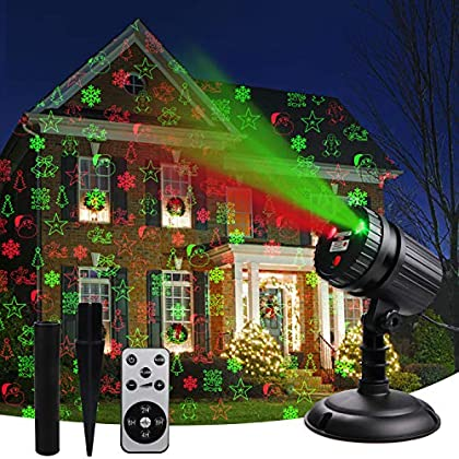 Christmas Laser Projector Lights, 8 Patterns Led Projection Lights with Remote, Landscape Projector Spotlights, Red and…