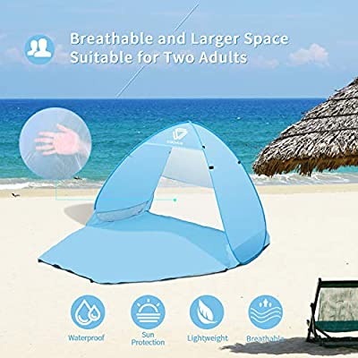 Vigorun Pop up Beach Tent, UPF 50+ for UV Sun Protection, Lightweight Portable Waterproof Easy Set Up Beach Sun Shelters Tent for Family Camping,