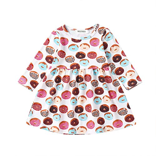 MOLYHUA Donut Dress, Toddler Baby Girls Summer Dress Donut Print Skirt Long Sleeve Party Clothes(110(4T), White)