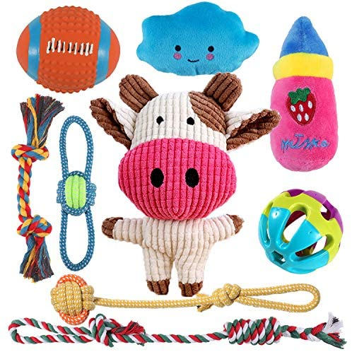 Dog Chew Toys for Puppy Teething Training,Interactive Stuffed Plush Dog Squeak Toys for Small Dogs,9 Packs Dog Rope Toys Puppy Chew Squeaky Toys,Rope Knot Chew Toy for Dental Cleaning and Teething