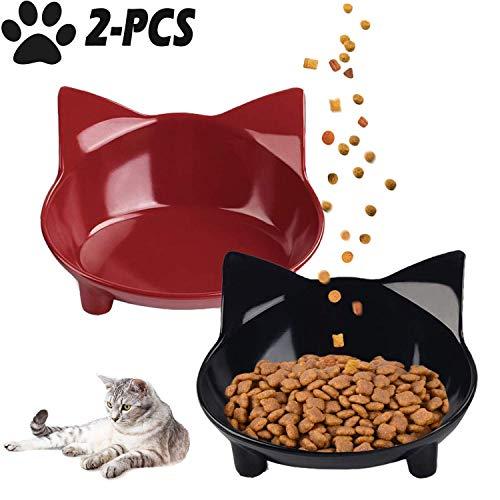 Legendog 2PCS Cat Bowls Cat Food Bowls Non Slip Cat Feeding Bowls Cat Water Bowls Cute Raised Cat Food Bowls Pet Bowls for Dogs Cats Rabbits