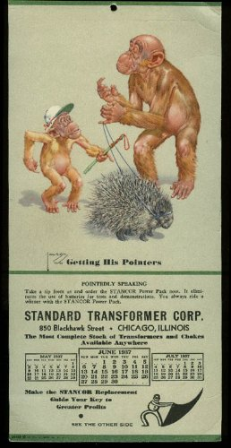Pointer Calendar (Lawson Wood Monkeys Getting Pointer calendar Standard Transformer 1937 porcupine)