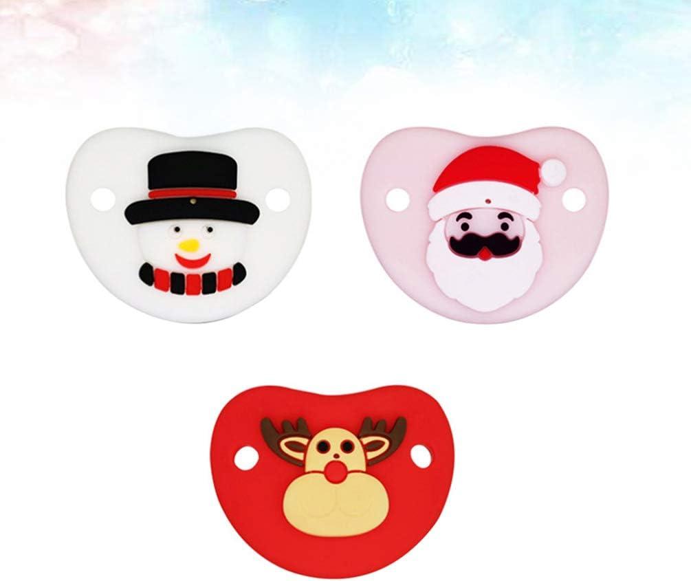 Toyvian 3 Piezas Chupete de Bebés de Navidad con Papá Noel Reno ...