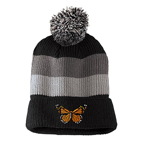 Beanie Embroidered Butterfly - Monarch Butterfly Embroidered Unisex Adult Acrylic Vintage Striped Removable Pom Pom Beanie Winter Hat - Black/Grey Stripes, One Size