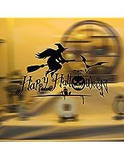 ملصق جداري زجاجي للنافذة وغرفة النوم وغرفة المعيشة والساحرة والمكنسة والساحرة في الهالوين