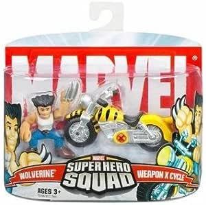 Marvel Super Hero Squad Wolverine w// Blue Black Motorcycle