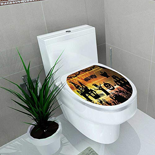 Auraise-home Waterproof self-Adhesive Ultra high Definition Halloween Image Toilet Seat Vinyl Art Stickers W8 x L11