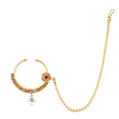 Buy I Jewels Traditional Gold Plated Nose Ring Nath With Chain For