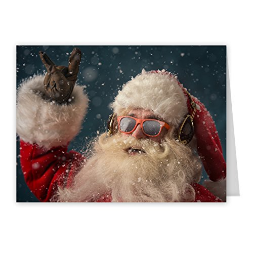 Rock 'n Roll Santa Holiday Card Pack - Set of 25 cards - 1 design, versed inside with envelopes Photo #6